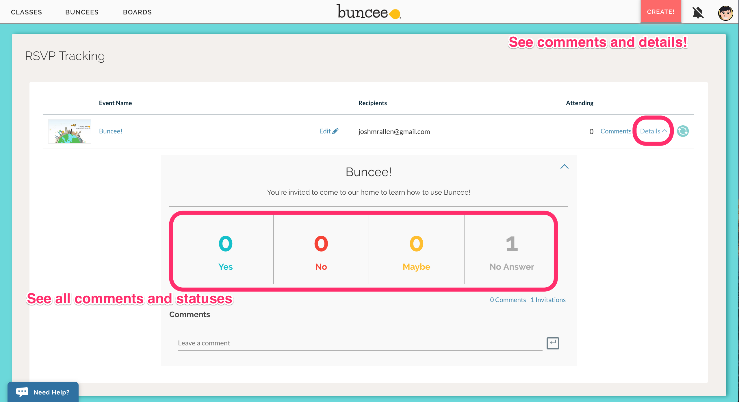 sharing by rsvp tracking responses buncee help center