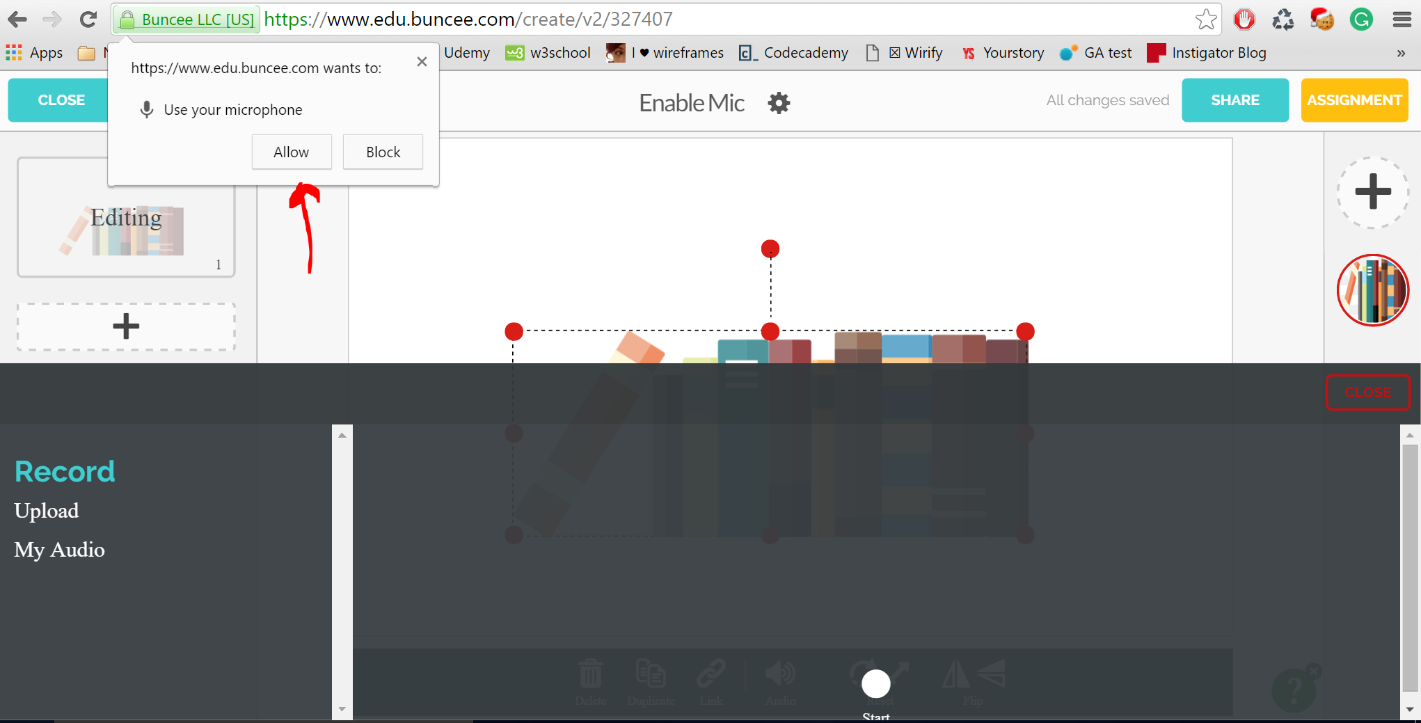 How Do I Enable A Mic In Google Chrome Buncee Help Center Block Diagram 1 When You Click On Audio And Then Record Prompted By The Browser Allow